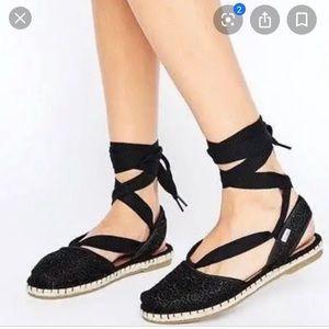 Toms Bella Espadrille crochet flat wrap sandals